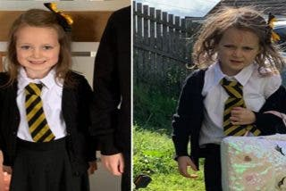 La foto del antes y el después de una niña en su primer día de clase que se volvió viral