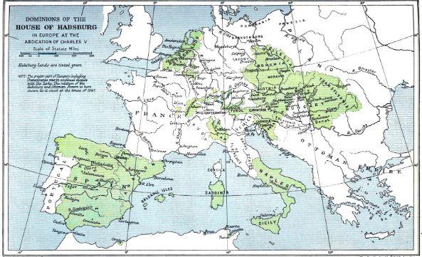 mapa Imperio España -Euopa