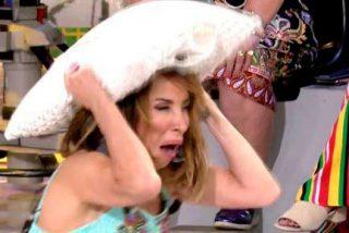 María Patiño entra en pánico y pone una absurda disculpa para no recibir un tartazo de Payasín, convirtiéndose en el hazmerreir