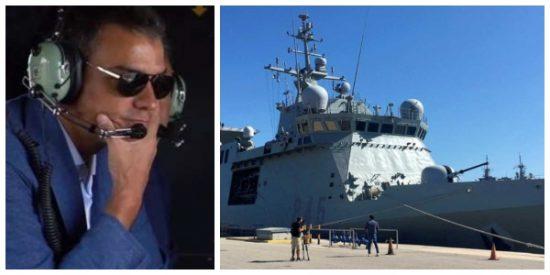 """Twitter se mofa de Sánchez por enviar el buque de la Armada: """"Está para defendernos de una invasión, no para recoger al invasor"""""""