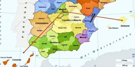 Un usuario bromea con la localización de Canarias en el mapa de España y Twitter se llena de jocosas respuestas