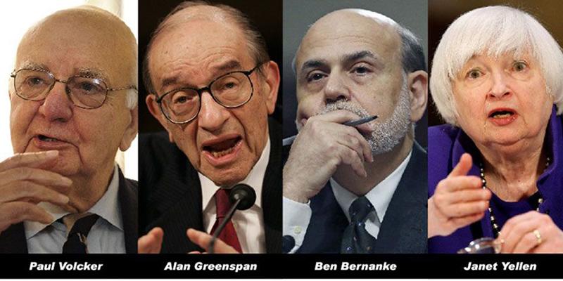 FED: Volcker, Greenspan, Bernanke y Yellen se unen contra Trump