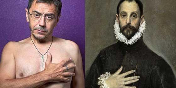 """Las redes no tienen piedad con la pavorosa y aterradora pose de Monedero al desnudo en El Mundo: """"El caballero con la mano en el pecho"""""""