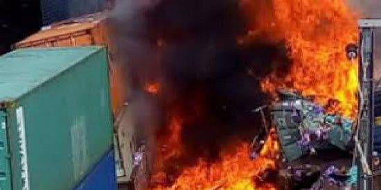 Un aparatoso choque entre dos trenes de carga provocado por unos ladrones se salda con tres heridos