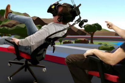 Ingenieros alemanes modifican una silla giratoria para poder jugar a las carreras en realidad virtual