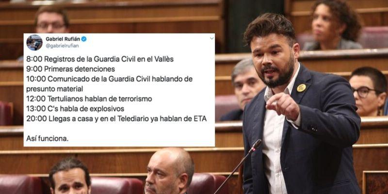 """Rufián sale en defensa de los violentos CDR y se lleva la paliza del año: """"¡Victimista... payaso!"""""""