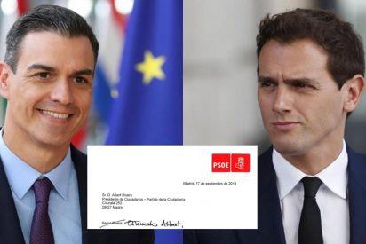 """Las redes se tronchan con el tachón a mano de la carta de Sánchez al """"señor Rivera"""": """"Querido Albert"""""""