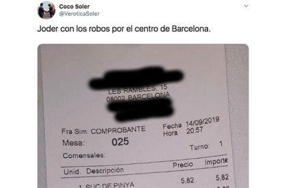 El mega 'sablazo' a unos clientes en un bar de Barcelona deja perplejos a miles de usuarios en Twitter