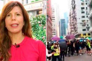 Mavi Oñate, enviada especial de TVE a Hong Kong, 'víctima' de los botes de humo y gas pimienta de la policía