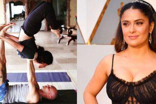 ¿Sabías que Salma Hayek es toda una experta en Acro Yoga? ¡Estos son sus beneficios!