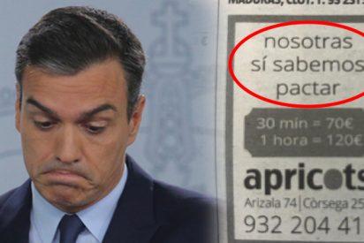 Un puticlub de Barcelona 'da una lección' a Pedro Sánchez con este anuncio 'erótico' en varios periódicos