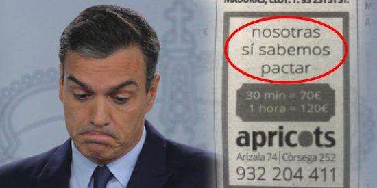 Un puticlub de Barcelona 'da una lección' a Pedro Sánchez con este anuncio publicado en varios periódicos