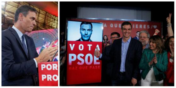 Palabras huecas y derroche propagandístico: A Pedro Sánchez solo le faltó ponerse a pegar carteles