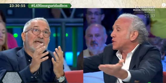 Baño de cifras de Eduardo Inda a un Xavier Sardá que se desespera por defender la labor de 'Nada' Colau en materia de seguridad