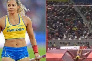 Angélica Bengtsson rompe su pértiga al clavarla y después bate el récord de Suecia con una prestada