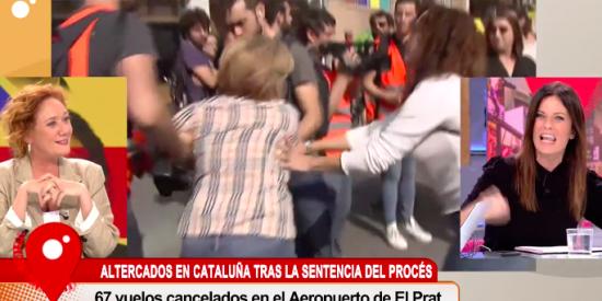 Infamia en Cuatro: Carme Chaparro y Fallarás no condenan la agresión a la señora con la bandera de España