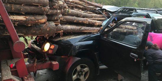 Este conductor se estrella contra un camión cargado con troncos y se salva por unos centímetros