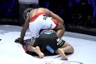 Este luchador de artes marciales mixtas estrangula a su rival hasta dejarlo inconsciente y se niega a soltarlo