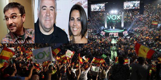 Ferreras, Ana Pastor y Jordi Évole abucheados 'por manipuladores' en el acto de VOX en Vistalegre
