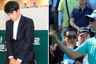 Jugador de golf surcoreano castigado a tres años sin jugar y pedir perdón de rodillas por hacer una peineta