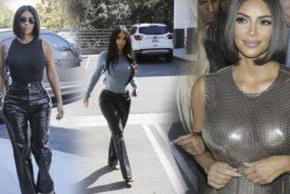 Kim Kardashian se calza estos pantalones de cuero que le quedan como a un 'santo dos pistolas'