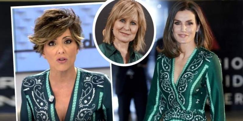 """La Reina Letizia 'presta' su vestido a Sonsoles Ónega y María Rey confiesa en Twitter: """"Nos deja su ropa a todas"""""""
