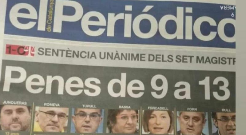 Lamentable que el día que a Junqueras y cómplices les caen sentencias de cárcel, se haga en un diario esta alusión física: el tamaño no importa