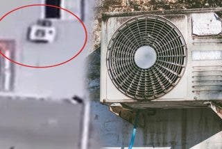 Ladrón muy torpe roba una oficina pero se deja su botín sobre un aparato de aire acondicionado al huir por la ventana