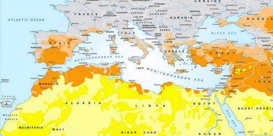 Mira cómo será el Mediterráneo en 2100: España, un desierto desde Algeciras a Pamplona
