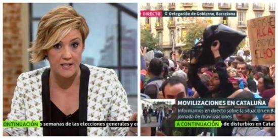 """El Quilombo / Así blanquea Cristina Pardo a los violentos separatistas: """"Vemos que lanzan basura a la Policía de manera pacífica"""""""