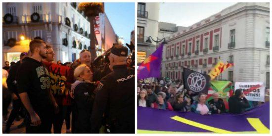 Unos patriotas españoles acorralan a unos independentistas-podemitas que vinieron a liarla a la Puerta del Sol