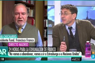 """El Quilombo / El general Chicharro se merienda a la 'celebrity' chavista de Mediaset: """"Lo siento, Monedero... pero la guerra la ganó Franco"""""""