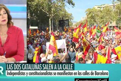 Ana Rosa deja con las vergüenzas al aire a Hernández, Mateo y Ónega (TVE) por marginar la gran manifestación de Barcelona a favor de España