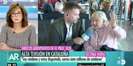 """El espectacular discurso de la señora Carmen en T5 desde El Prat: """"La gente me dice que no volverá a Barcelona; ¡nos han secuestrado!"""""""