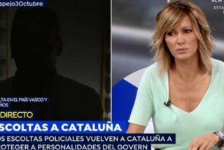 La catalana Susanna Griso, una de las 'progres' de Atresmedia, le echa la bronca a un escolta por advertir que Cataluña acabará como el País Vasco con ETA