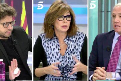 Ana Rosa e Inda silencian al bocachancla Fernando Berlín que pide cautela en medio de una Barcelona ardiendo y echa la culpa a las televisiones