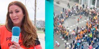 """""""Soy catalana y esto me da mucha pena"""", la tensión de la reportera de Ana Rosa tras ser increpada y rodeada por cientos de independentistas"""