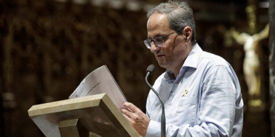 Torra lee en Montserrat una plegaria en solidaridad con los golpistas presos
