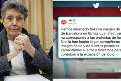 """La RTVE de Rosa María Mateo suma y sigue: difunden un bulo tremendo sobre los disturbios de Barcelona y encima le echan la culpa a """"fuentes policiales"""""""