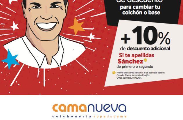 """Así es el curioso anuncio de una empresa de colchones: """"Pedro Sánchez nos lo puso a huevo"""""""