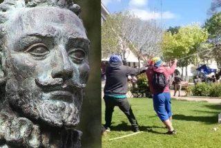 Así derriban los Mapuches estatuas de los conquistadores españoles en Chile