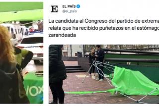 """El vomitivo tuit de El País que da la razón a Vox para vetar a PRISA: """"La candidata de extrema derecha relata que recibió puñetazos en el estómago"""""""