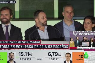 """Euforia desbordante en la sede de Vox con Abascal lanzando un aviso a Sánchez y sus compadreos con el golpismo: """"Recurriremos todas las leyes contrarias a la nación"""""""