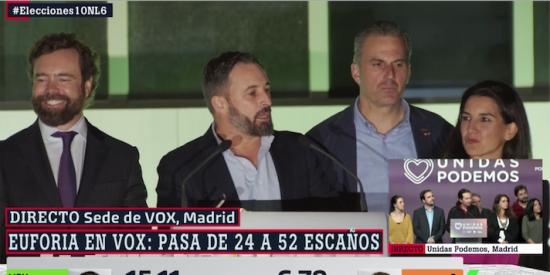 Euforia desbordante en la sede de Vox con Abascal lanzando un aviso a Sánchez y sus compadreos con el golpismo
