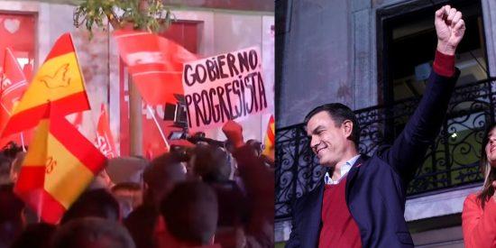 El PSOE se pone nervioso con la presencia de banderas de España en su sede creyendo que son infiltrados de VOX
