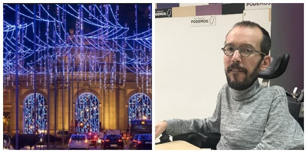 Twitter vapulea al 'ministro' Echenique: hace demagogia con el coste de las luces de Navidad de Madrid pero se calló como una puerta con Radio Carmena