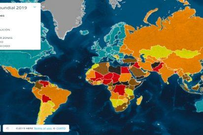 Este es el mapa de los países más peligrosos del Mundo en 2019