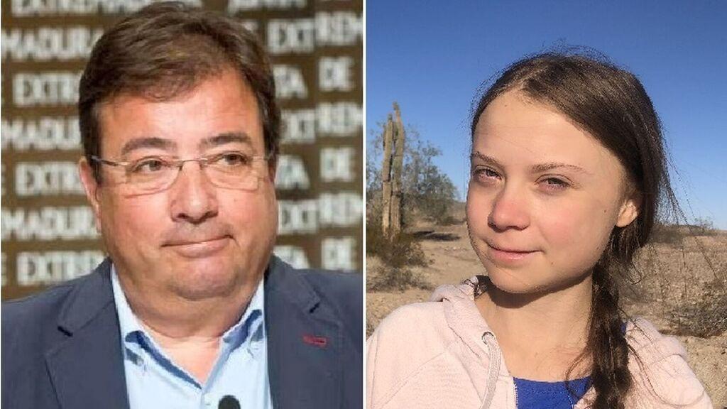 El oportunista Fernández Vara ofrece a Greta Thunberg un coche eléctrico para su viaje de Lisboa a Madrid, pero no le dice donde recargarlo
