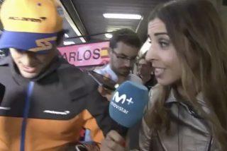 La periodista de Movistar+ emocionada perdida con al podio de Carlos Sainz Jr. en la F-1