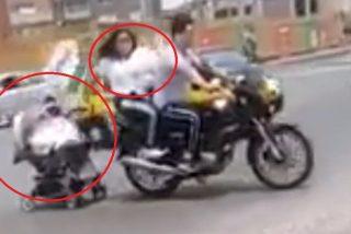 'Los peores padres del mundo': remolcan el cochecito con su bebé por una carretera